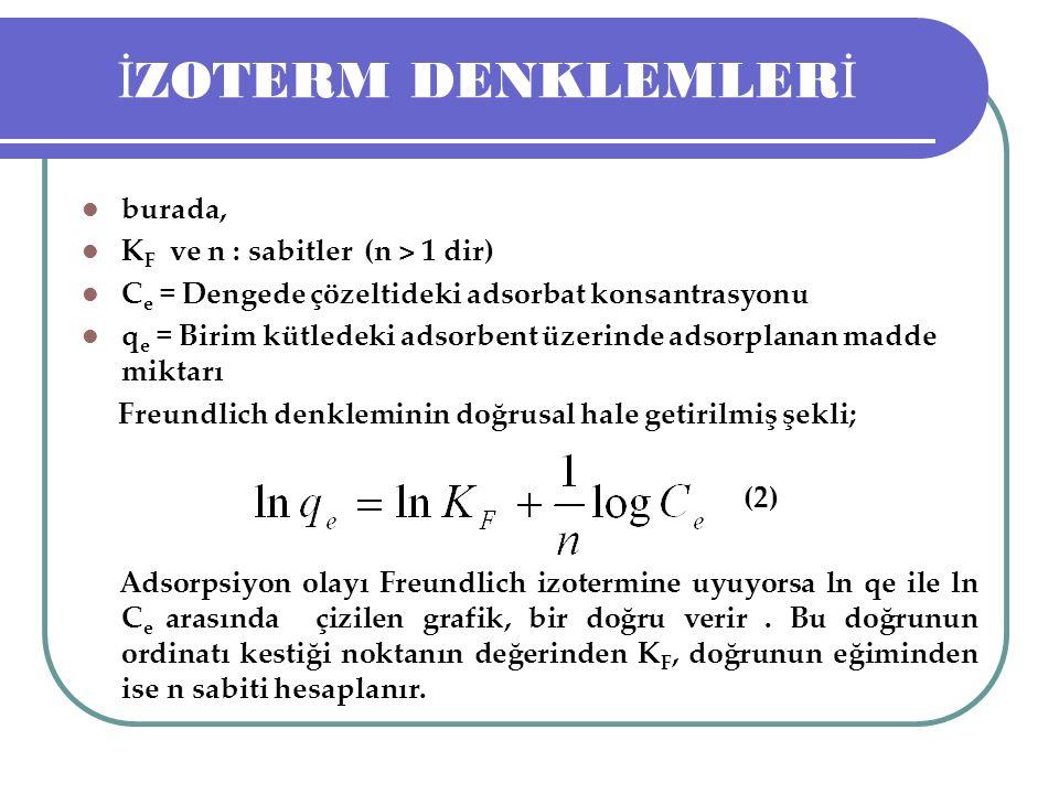 İZOTERM DENKLEMLERİ burada, KF ve n : sabitler (n > 1 dir)