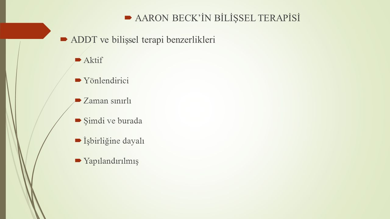 AARON BECK'İN BİLİŞSEL TERAPİSİ