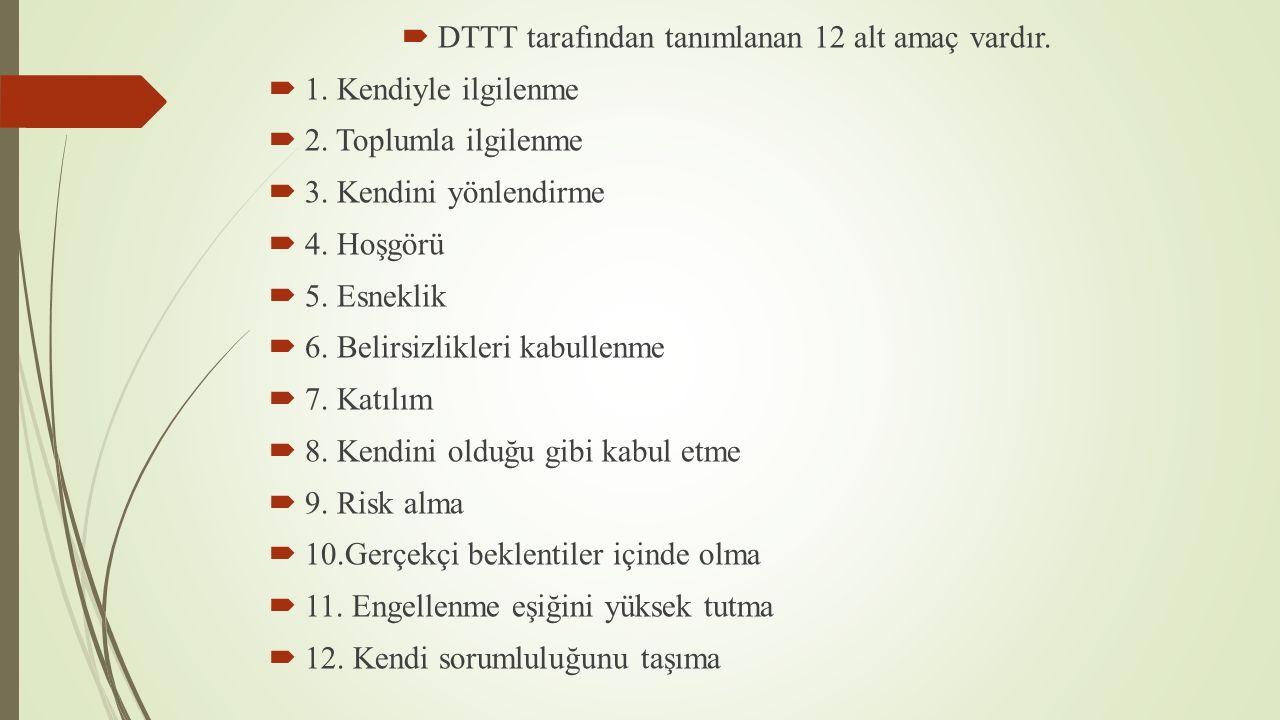 DTTT tarafından tanımlanan 12 alt amaç vardır.