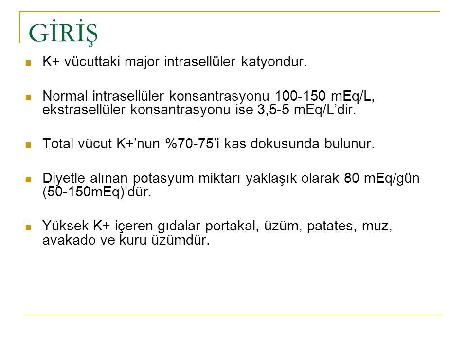 GİRİŞ K+ vücuttaki major intrasellüler katyondur.