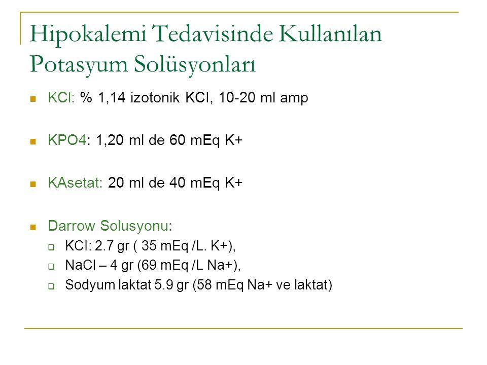 Hipokalemi Tedavisinde Kullanılan Potasyum Solüsyonları