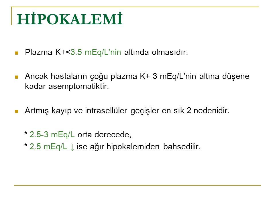HİPOKALEMİ Plazma K+<3.5 mEq/L nin altında olmasıdır.