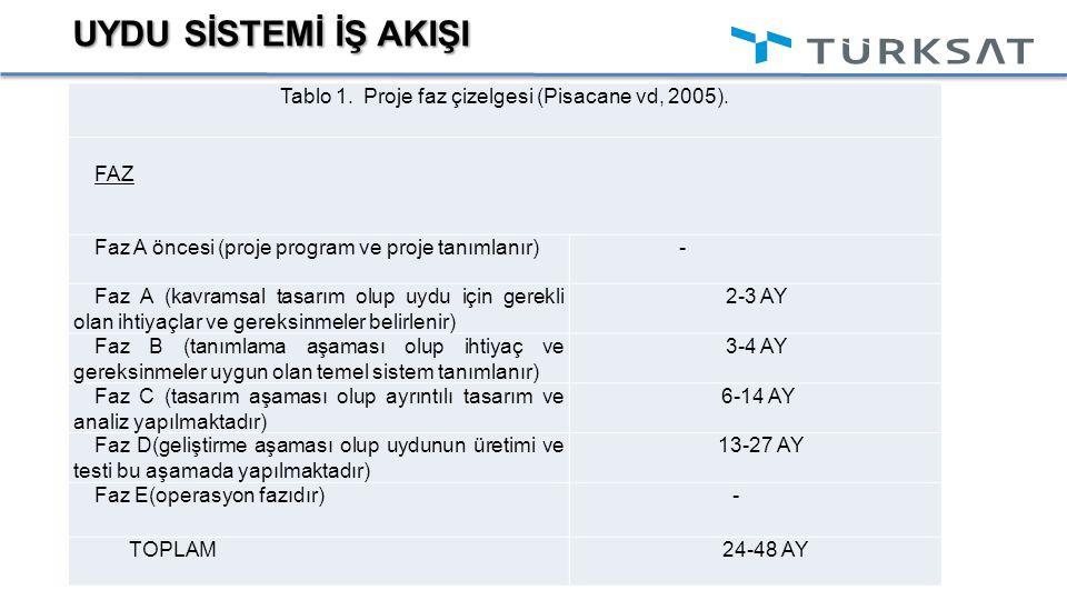 Tablo 1. Proje faz çizelgesi (Pisacane vd, 2005).