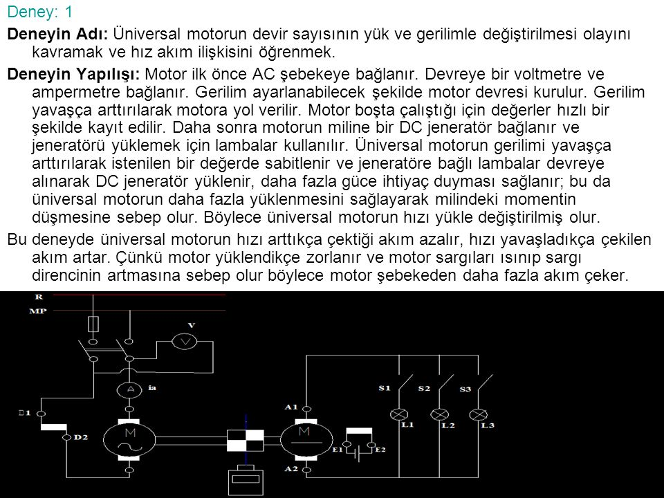 Deney: 1 Deneyin Adı: Üniversal motorun devir sayısının yük ve gerilimle değiştirilmesi olayını kavramak ve hız akım ilişkisini öğrenmek.