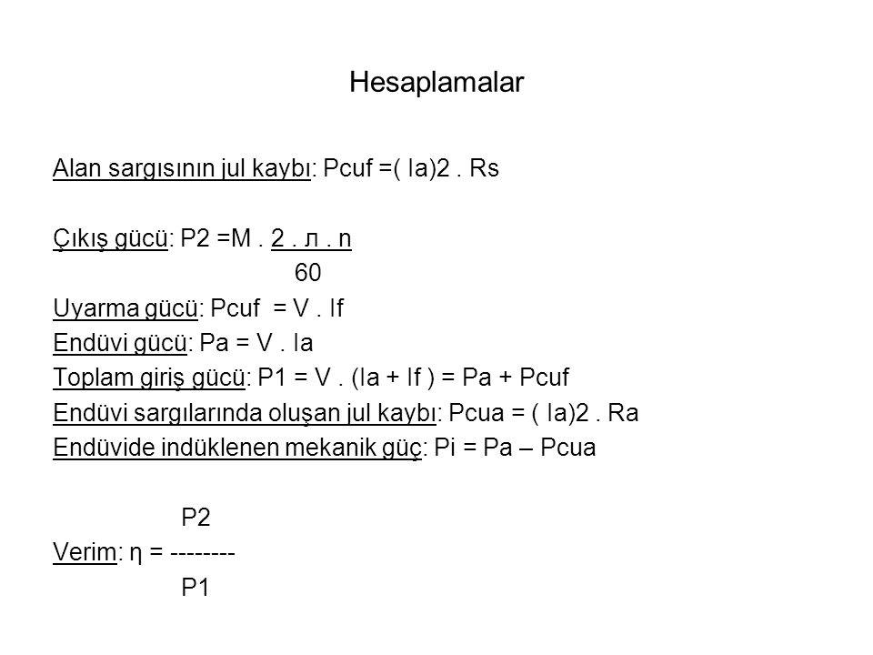 Hesaplamalar Alan sargısının jul kaybı: Pcuf =( Ia)2 . Rs
