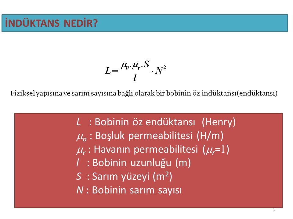 o : Boşluk permeabilitesi (H/m) r : Havanın permeabilitesi (r=1)