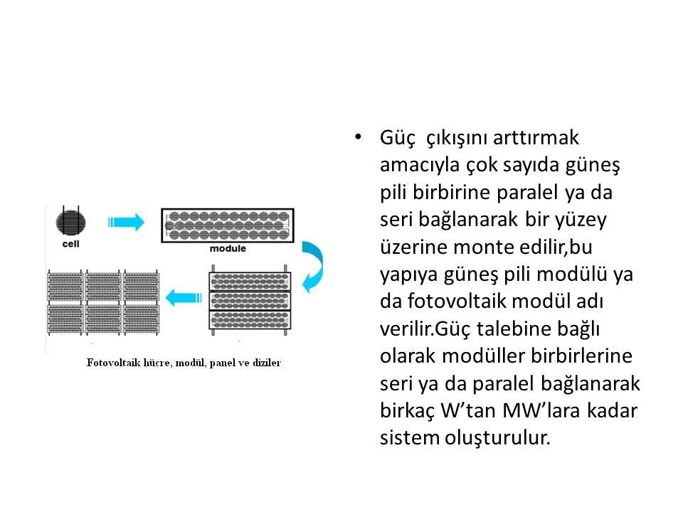 Güç çıkışını arttırmak amacıyla çok sayıda güneş pili birbirine paralel ya da seri bağlanarak bir yüzey üzerine monte edilir,bu yapıya güneş pili modülü ya da fotovoltaik modül adı verilir.Güç talebine bağlı olarak modüller birbirlerine seri ya da paralel bağlanarak birkaç W'tan MW'lara kadar sistem oluşturulur.
