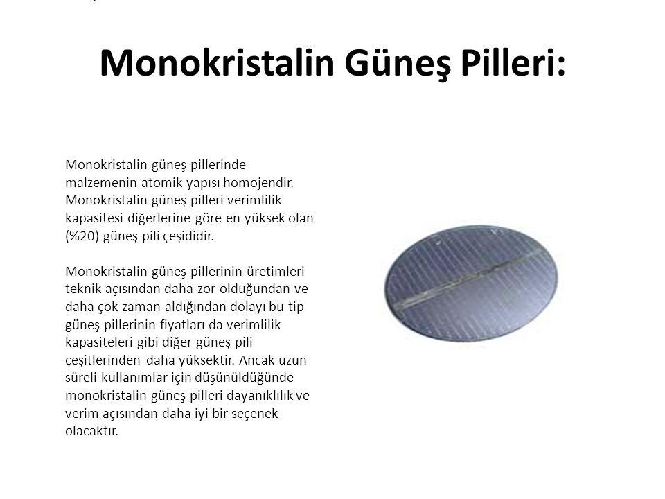 Monokristalin Güneş Pilleri: