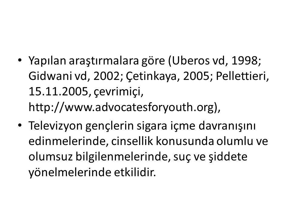 Yapılan araştırmalara göre (Uberos vd, 1998; Gidwani vd, 2002; Çetinkaya, 2005; Pellettieri, 15.11.2005, çevrimiçi, http://www.advocatesforyouth.org),