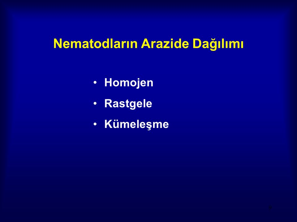 Nematodların Arazide Dağılımı