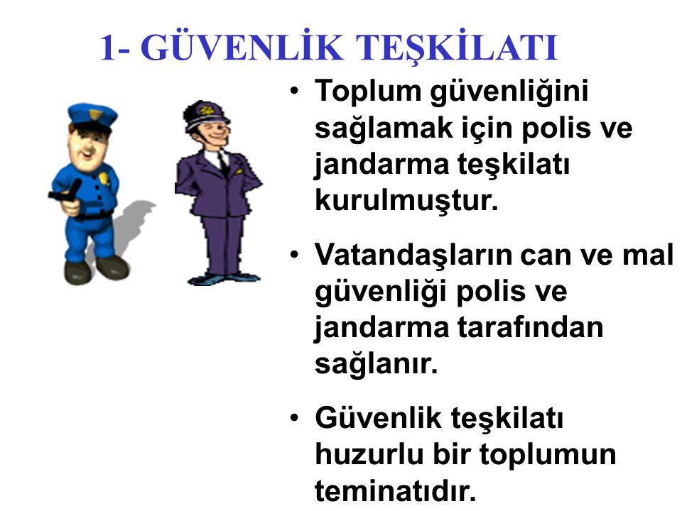 1- GÜVENLİK TEŞKİLATI Toplum güvenliğini sağlamak için polis ve jandarma teşkilatı kurulmuştur.