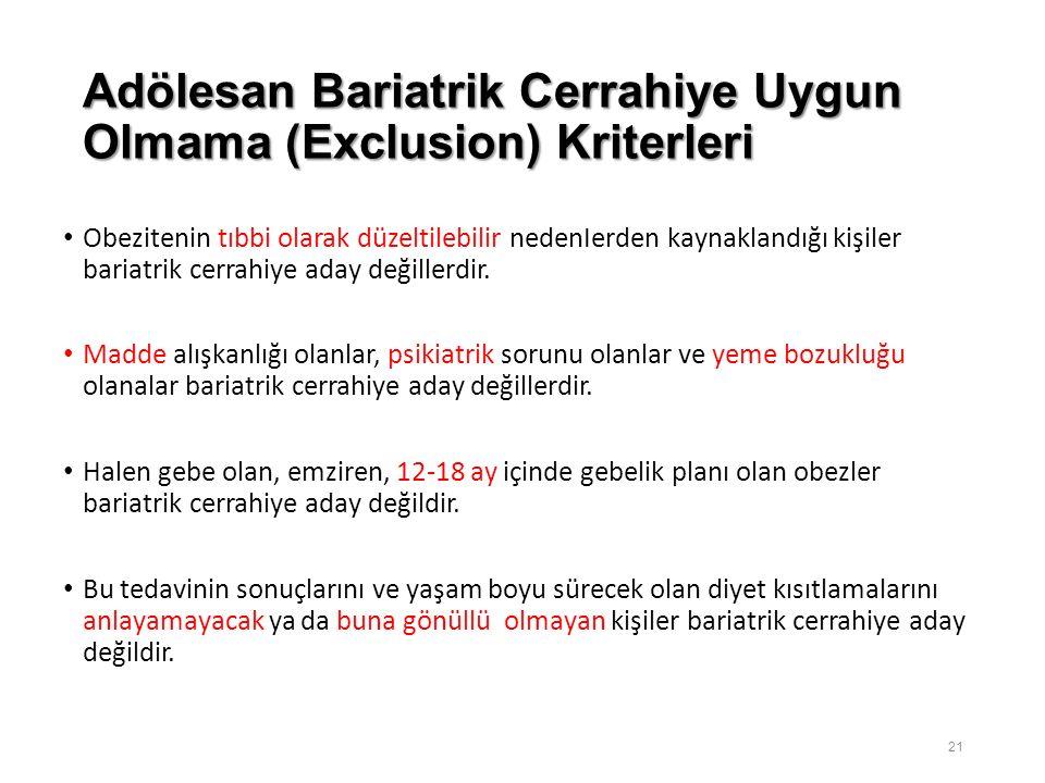 Adölesan Bariatrik Cerrahiye Uygun Olmama (Exclusion) Kriterleri