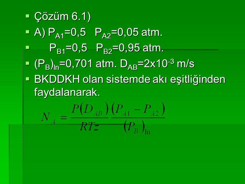 Çözüm 6.1) A) PA1=0,5 PA2=0,05 atm. PB1=0,5 PB2=0,95 atm. (PB)ln=0,701 atm. DAB=2x10-3 m/s.