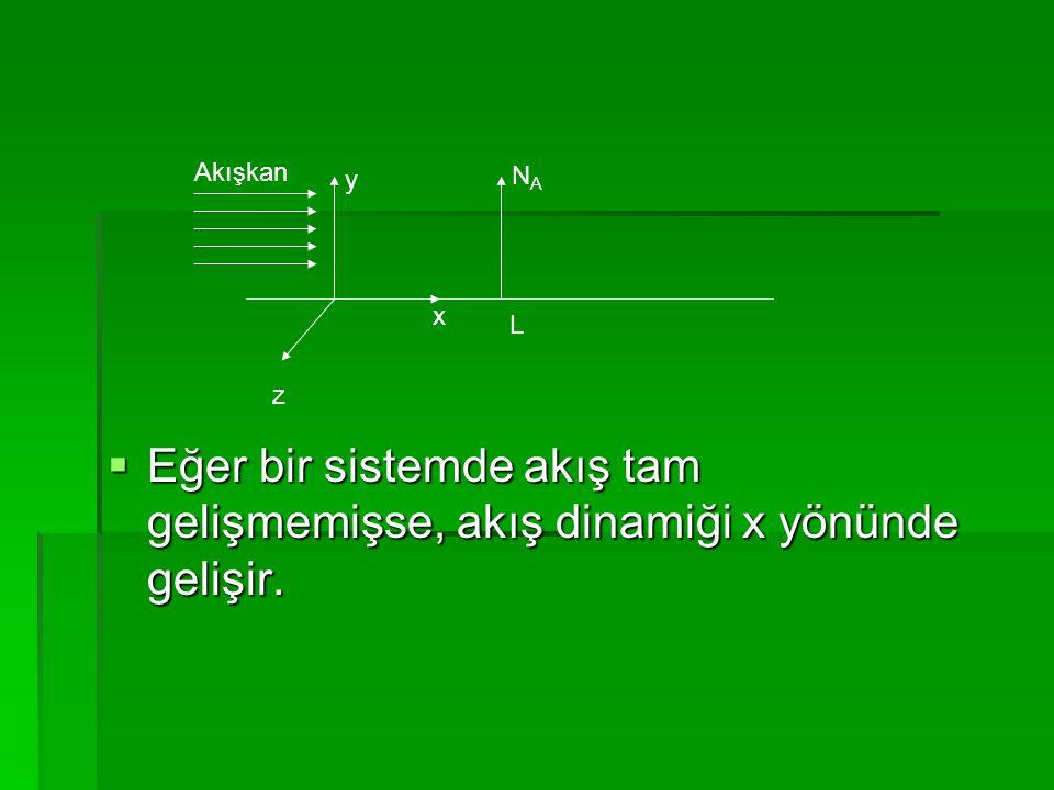 Eğer bir sistemde akış tam gelişmemişse, akış dinamiği x yönünde gelişir.
