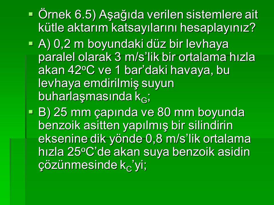 Örnek 6.5) Aşağıda verilen sistemlere ait kütle aktarım katsayılarını hesaplayınız