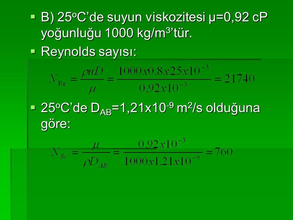 B) 25oC'de suyun viskozitesi μ=0,92 cP yoğunluğu 1000 kg/m3'tür.