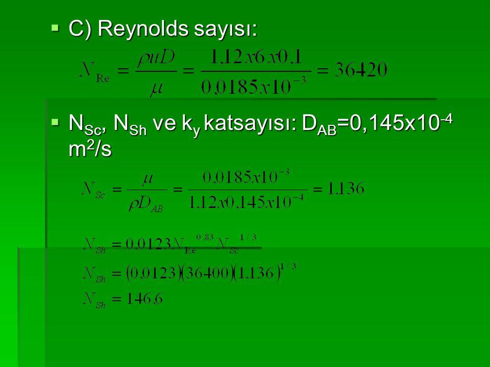 C) Reynolds sayısı: NSc, NSh ve ky katsayısı: DAB=0,145x10-4 m2/s
