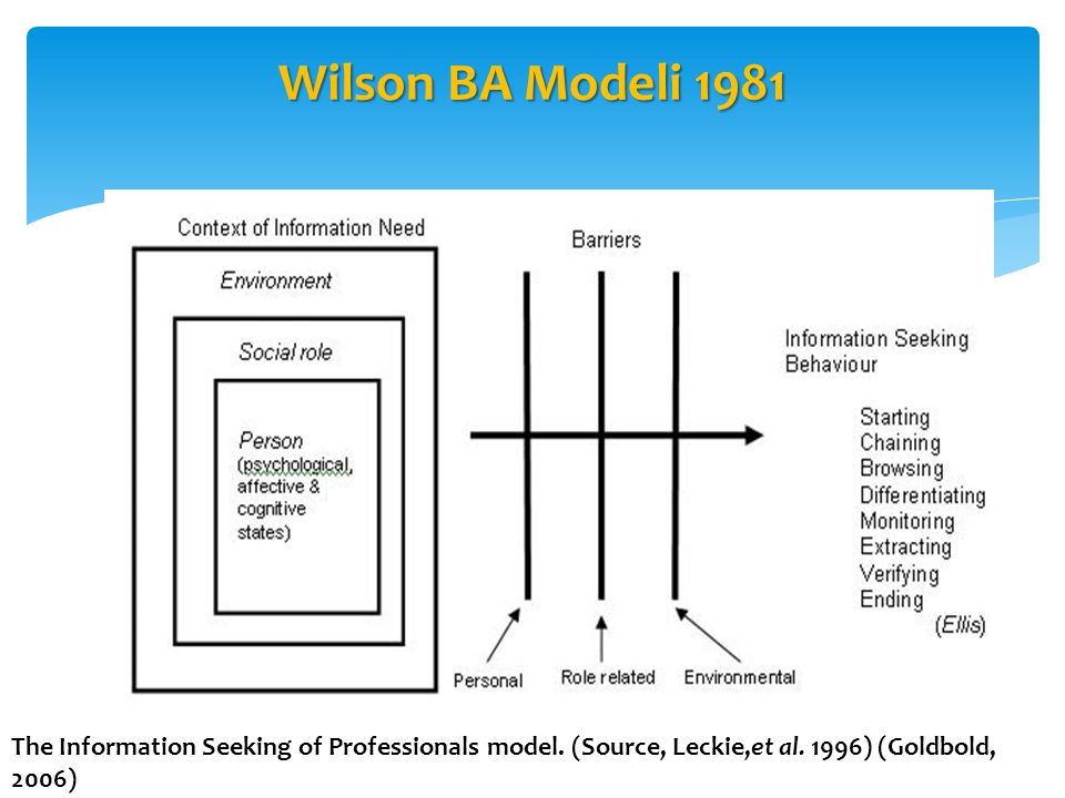Wilson BA Modeli 1981 The Information Seeking of Professionals model.