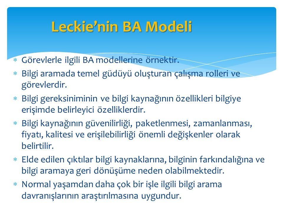 Leckie'nin BA Modeli Görevlerle ilgili BA modellerine örnektir.