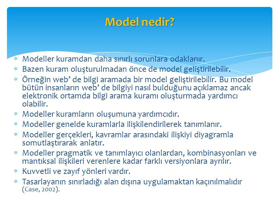 Model nedir Modeller kuramdan daha sınırlı sorunlara odaklanır.