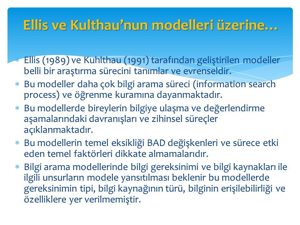 Ellis ve Kulthau'nun modelleri üzerine…