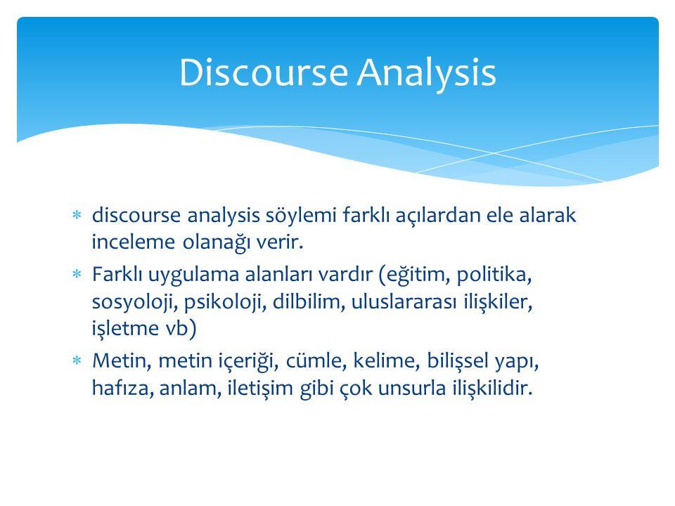 Discourse Analysis discourse analysis söylemi farklı açılardan ele alarak inceleme olanağı verir.