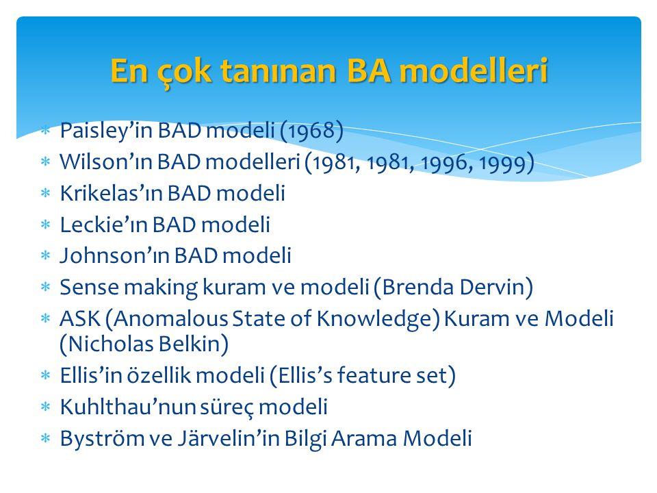 En çok tanınan BA modelleri