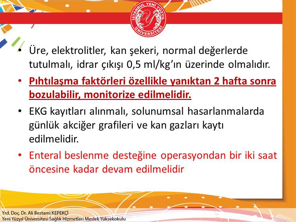 Üre, elektrolitler, kan şekeri, normal değerlerde tutulmalı, idrar çıkışı 0,5 ml/kg'ın üzerinde olmalıdır.