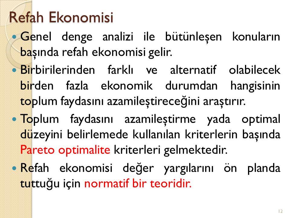 Refah Ekonomisi Genel denge analizi ile bütünleşen konuların başında refah ekonomisi gelir.