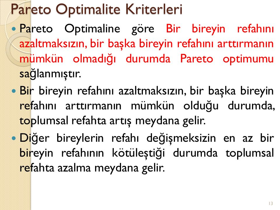 Pareto Optimalite Kriterleri