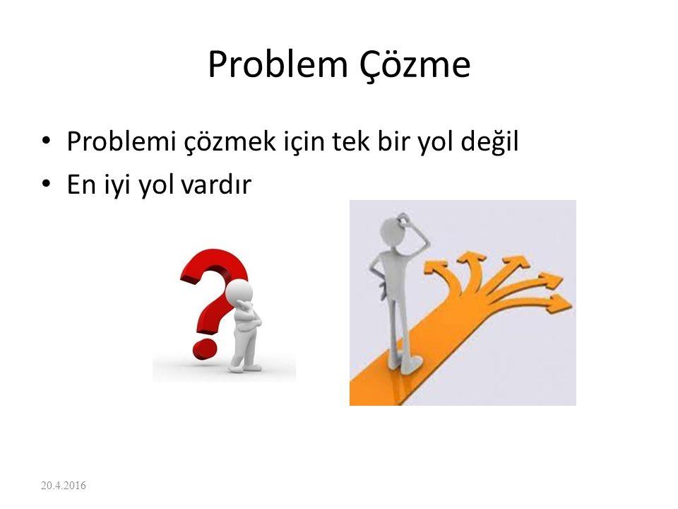 Problem Çözme Problemi çözmek için tek bir yol değil En iyi yol vardır
