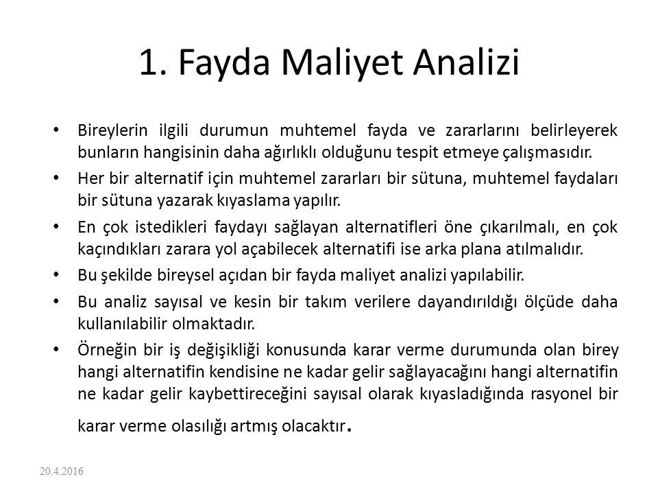 1. Fayda Maliyet Analizi