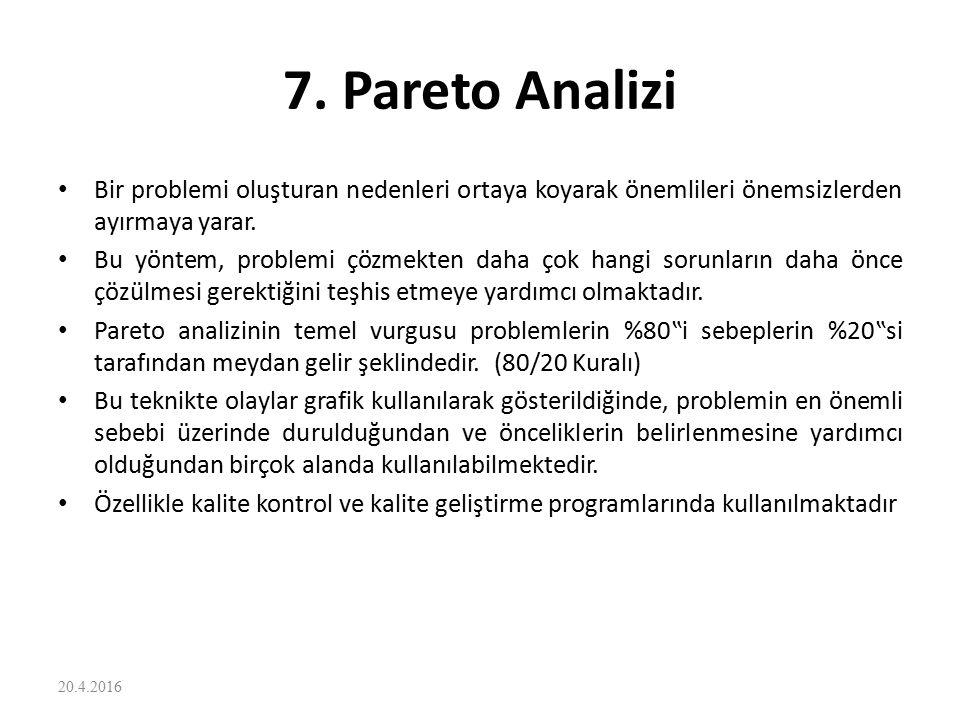 7. Pareto Analizi Bir problemi oluşturan nedenleri ortaya koyarak önemlileri önemsizlerden ayırmaya yarar.