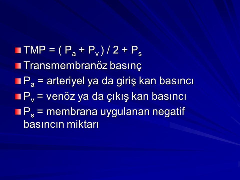 TMP = ( Pa + Pv ) / 2 + Ps Transmembranöz basınç. Pa = arteriyel ya da giriş kan basıncı. Pv = venöz ya da çıkış kan basıncı.