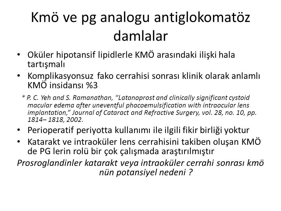 Kmö ve pg analogu antiglokomatöz damlalar