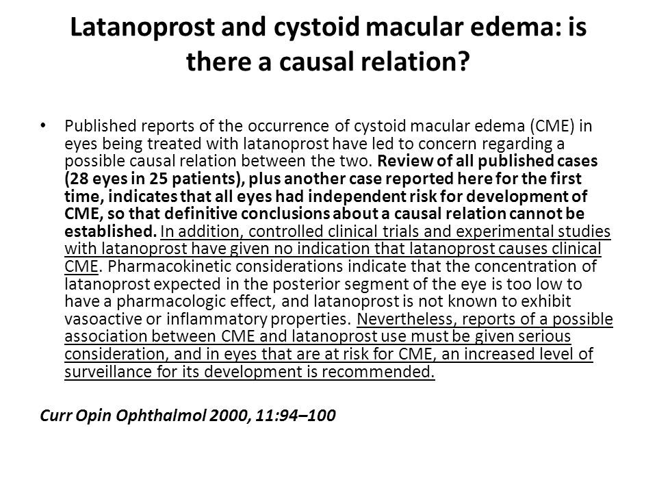 Latanoprost and cystoid macular edema: is there a causal relation