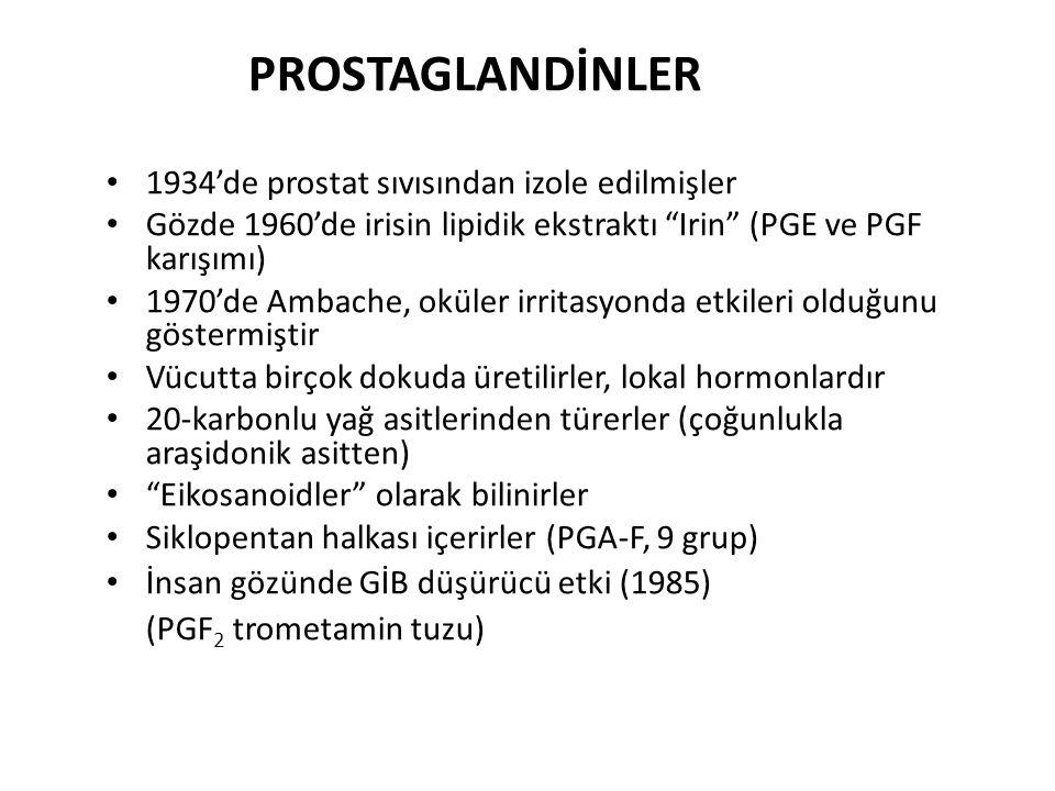 PROSTAGLANDİNLER 1934'de prostat sıvısından izole edilmişler