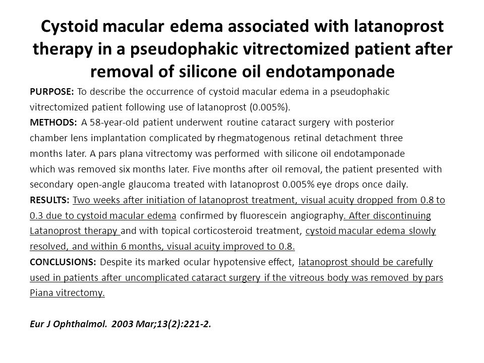 Cystoid macular edema associated with latanoprost therapy in a pseudophakic vitrectomized patient after removal of silicone oil endotamponade