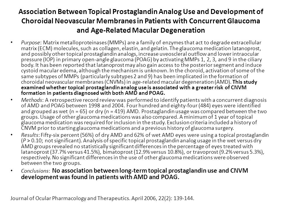 Association Between Topical Prostaglandin Analog Use and Development of Choroidal Neovascular Membranes in Patients with Concurrent Glaucoma and Age-Related Macular Degeneration