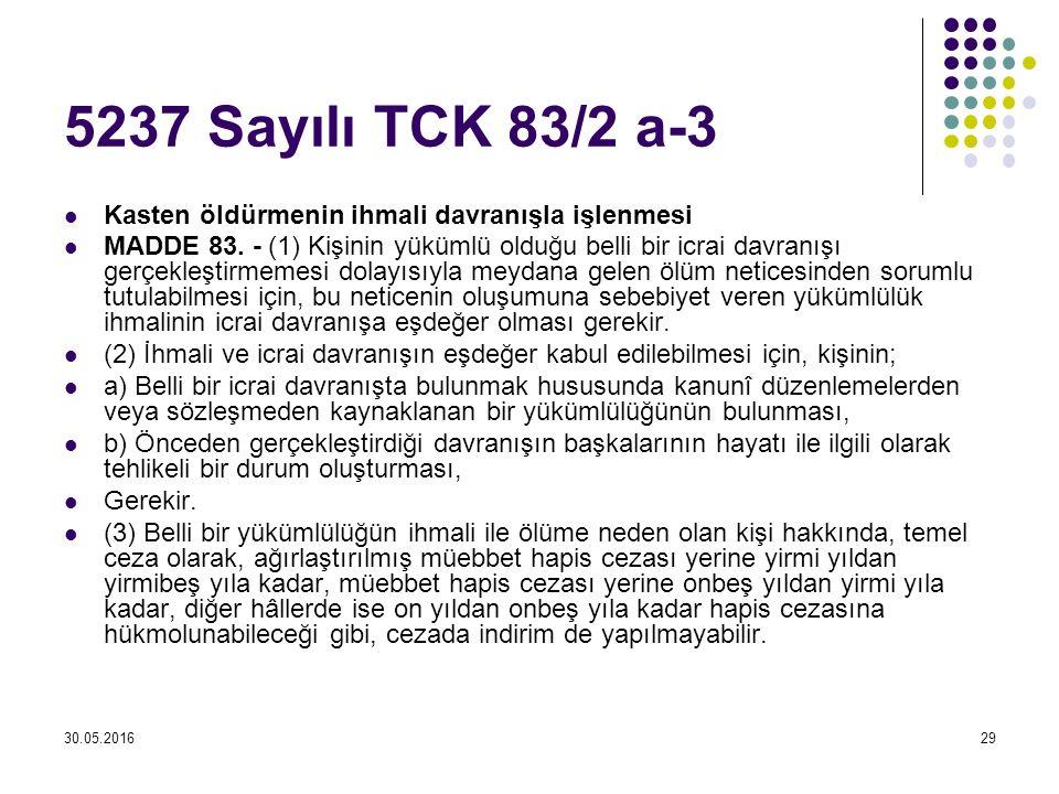 5237 Sayılı TCK 83/2 a-3 Kasten öldürmenin ihmali davranışla işlenmesi