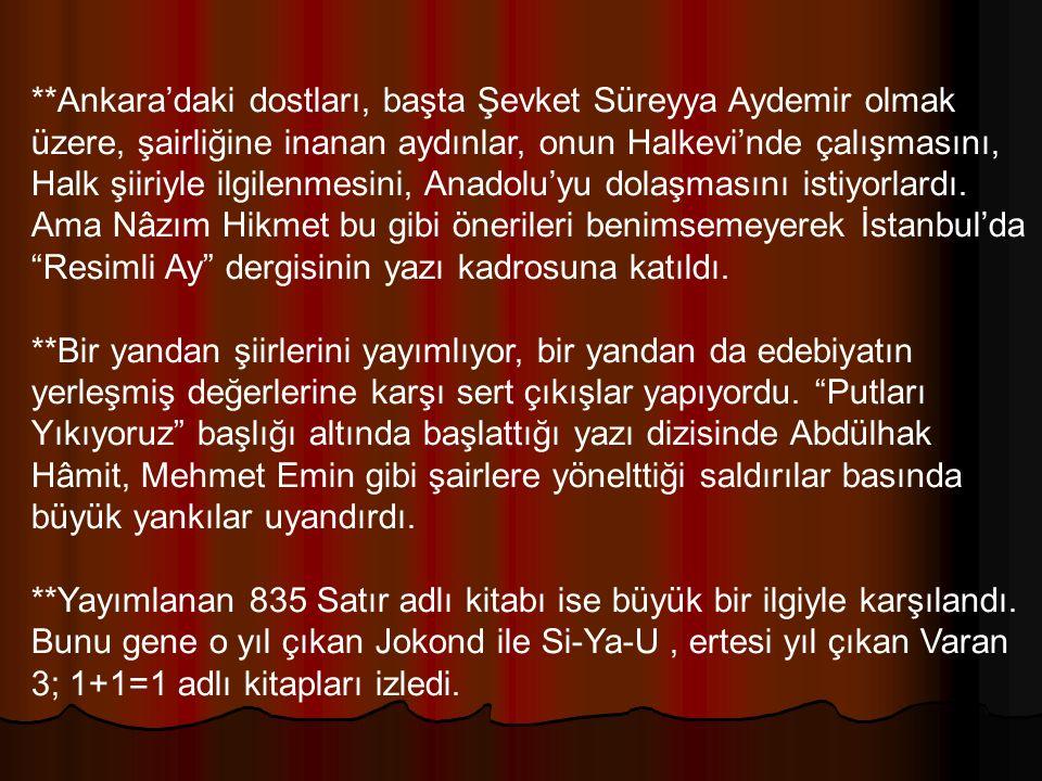 **Ankara'daki dostları, başta Şevket Süreyya Aydemir olmak üzere, şairliğine inanan aydınlar, onun Halkevi'nde çalışmasını, Halk şiiriyle ilgilenmesini, Anadolu'yu dolaşmasını istiyorlardı. Ama Nâzım Hikmet bu gibi önerileri benimsemeyerek İstanbul'da Resimli Ay dergisinin yazı kadrosuna katıldı.