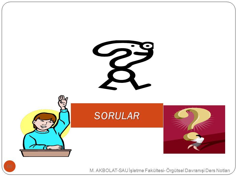SORULAR M. AKBOLAT-SAU İşletme Fakültesi- Örgütsel Davranışi Ders Notları