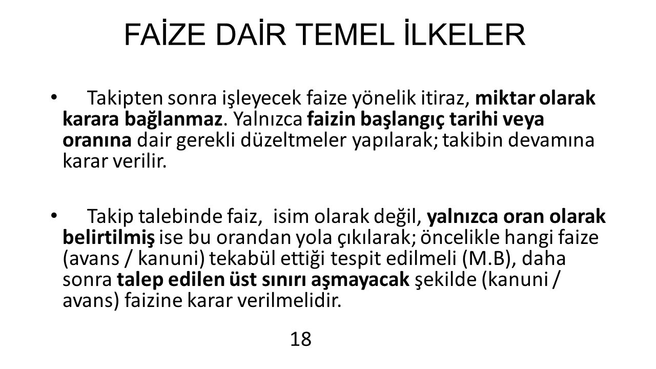 FAİZE DAİR TEMEL İLKELER