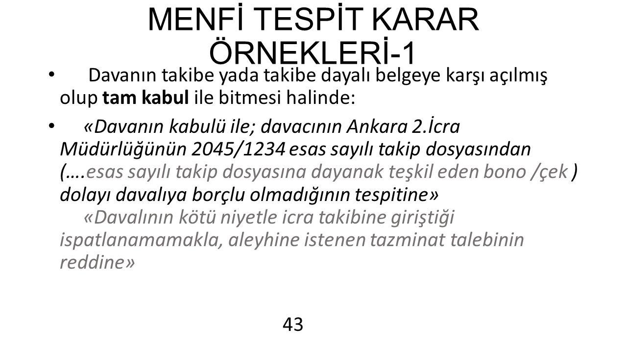 MENFİ TESPİT KARAR ÖRNEKLERİ-1