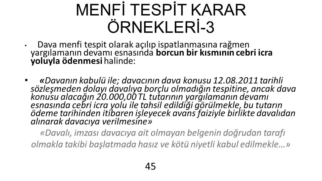 MENFİ TESPİT KARAR ÖRNEKLERİ-3