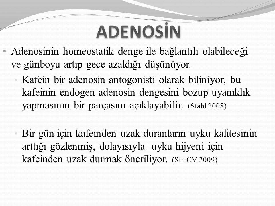 ADENOSİN Adenosinin homeostatik denge ile bağlantılı olabileceği ve günboyu artıp gece azaldığı düşünüyor.