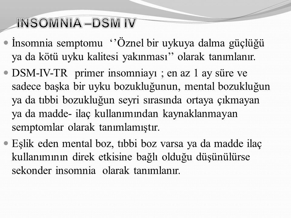 INSOMNIA –DSM IV İnsomnia semptomu ''Öznel bir uykuya dalma güçlüğü ya da kötü uyku kalitesi yakınması'' olarak tanımlanır.