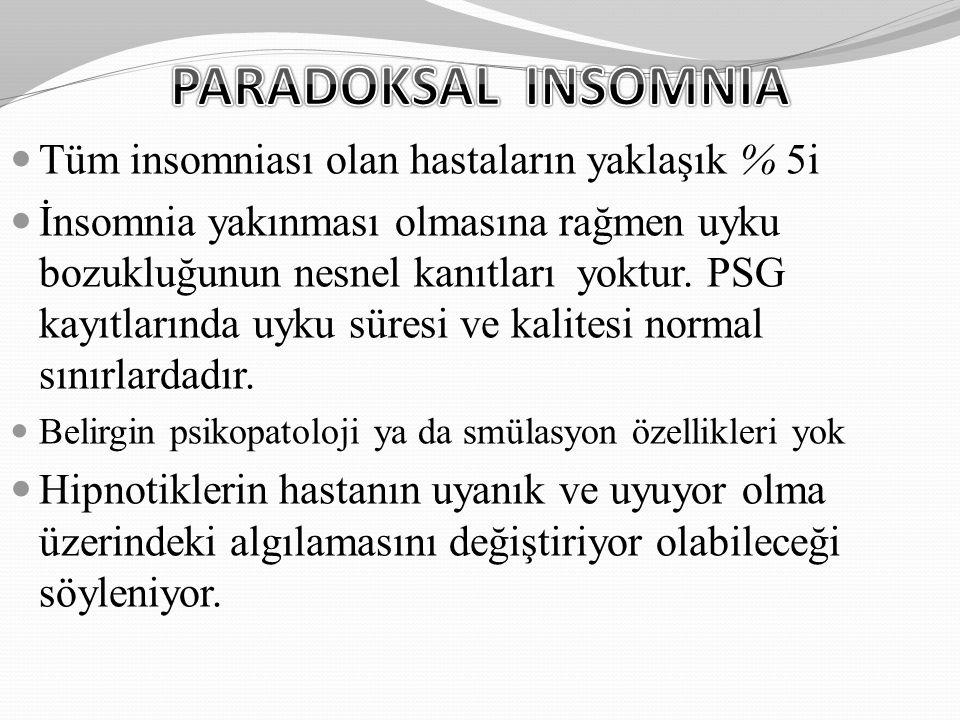 PARADOKSAL INSOMNIA Tüm insomniası olan hastaların yaklaşık % 5i