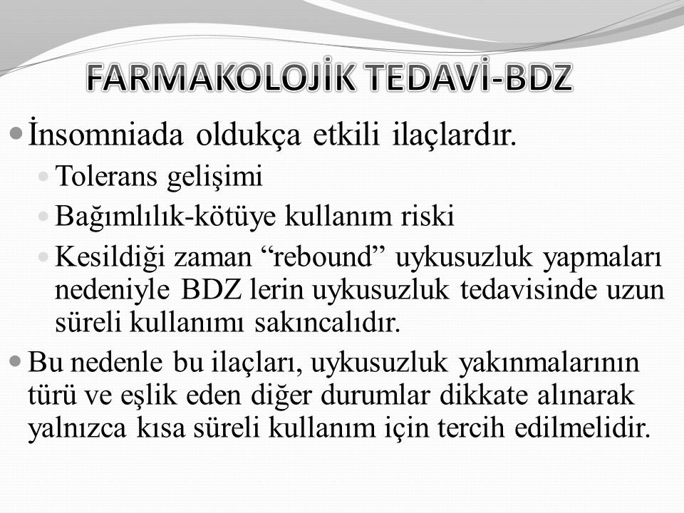 FARMAKOLOJİK TEDAVİ-BDZ