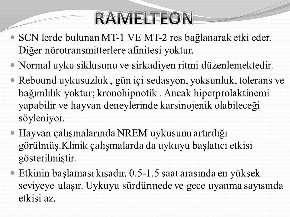 RAMELTEON SCN lerde bulunan MT-1 VE MT-2 res bağlanarak etki eder. Diğer nörotransmitterlere afinitesi yoktur.
